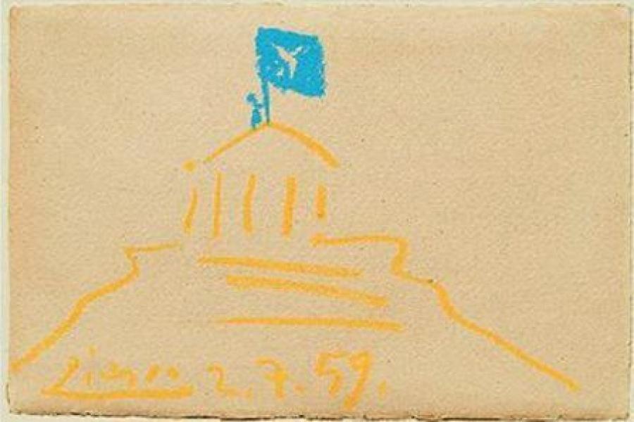 Πικάσο: Ο πίνακας με την Ακρόπολη, Ο Γλέζος στον Παρθενώνα υψώνει τη σημαία της ειρήνης