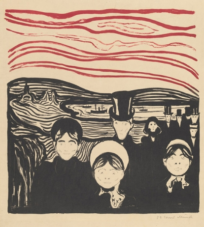 Ed. Munch, Anxiety, 1896, color lithograph in black and red on card